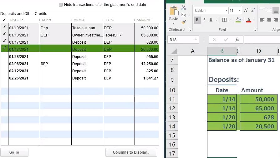 QuickBooks Bank Reconciliation - How to Enter First Bank
